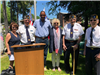 Supervisor Rohr, Congressman Delgado, and Assemblywoman Barrett with members of the Hyde Park Americ