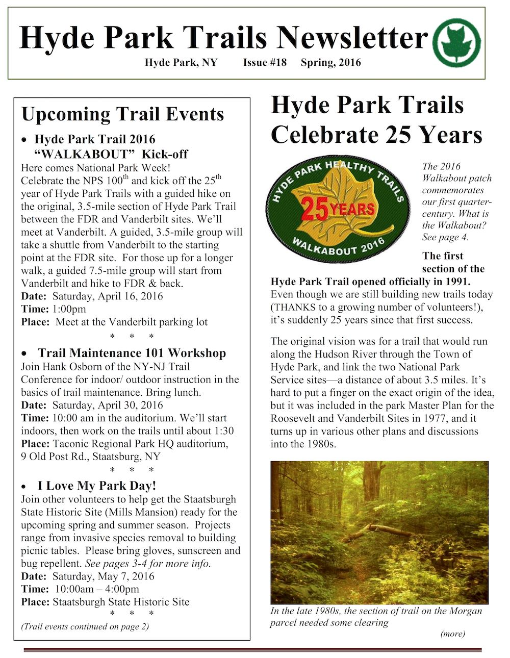 Hyde Park Trails Newsletter Sample Image