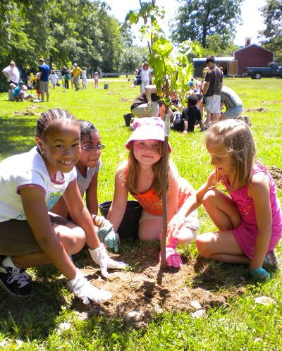 Young girls planting trees at North Park Elementary School