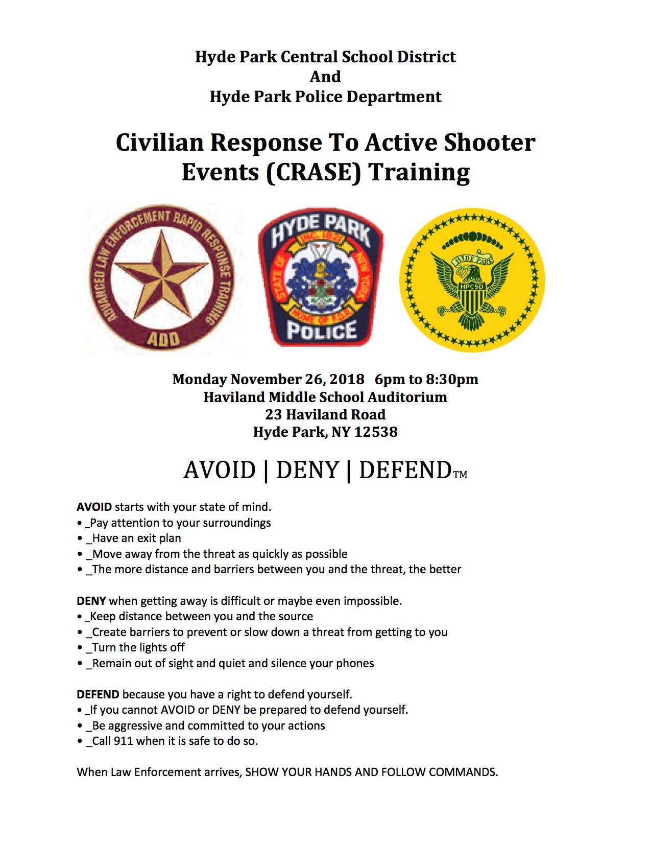 Civilian Response To Active Shooter Events (CRASE) Training Flyer