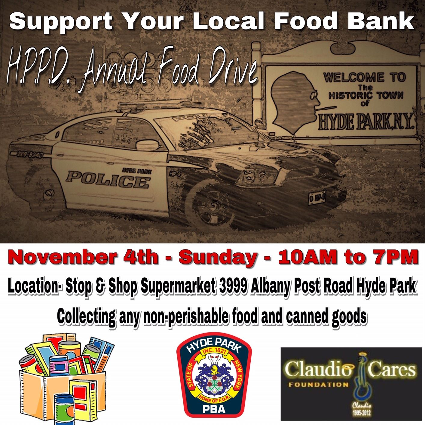 Hyde Park Police Department Food Drive Flyer