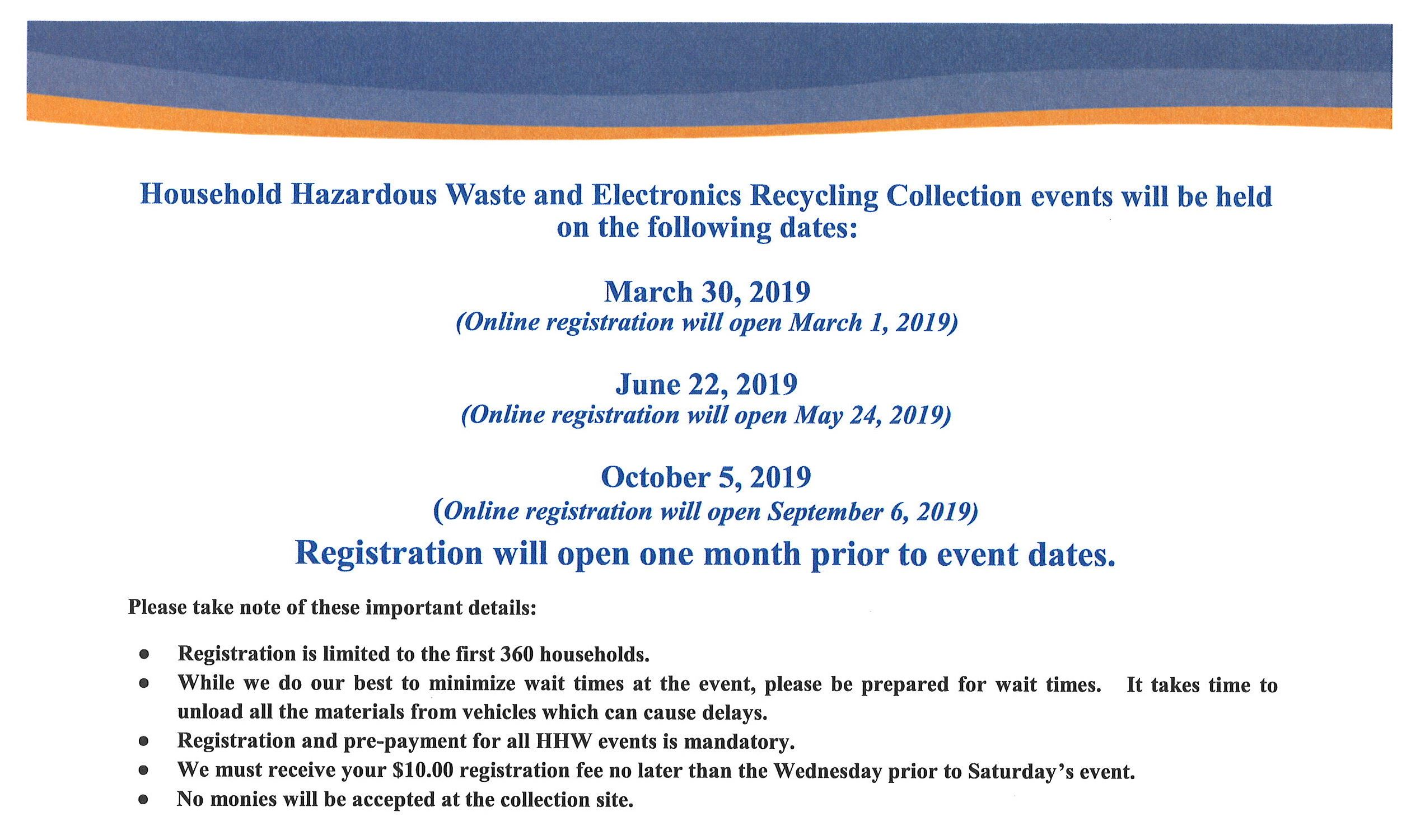Household Hazardous Waste and Electronics Recycling Collection Events Flyer