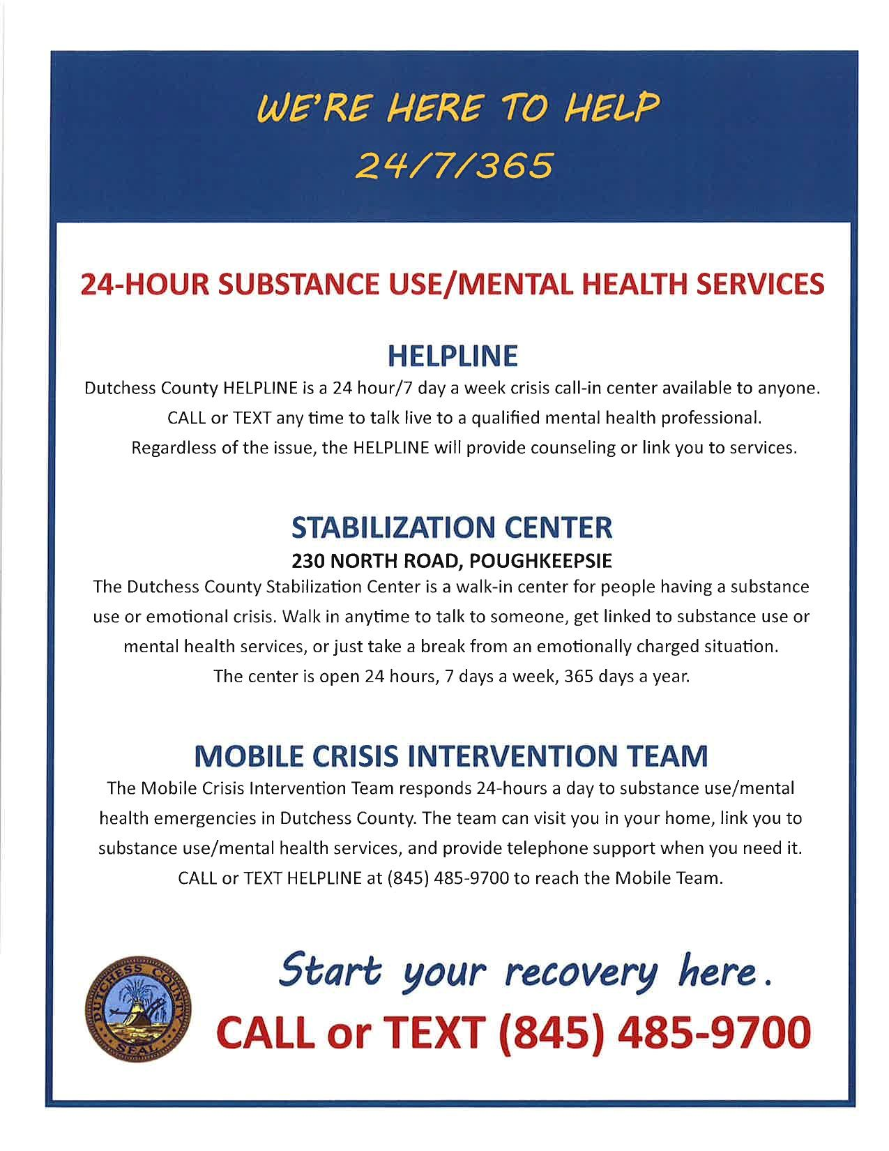 24-Hour Substance Use and Mental Health Services Flyer