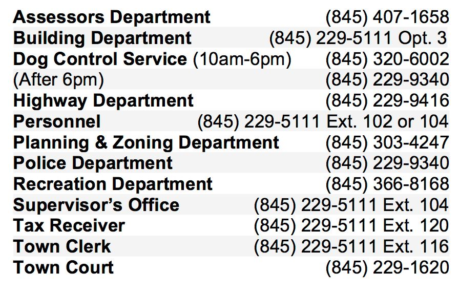 Hyde Park Town Hall Contact Numbers (List Only)