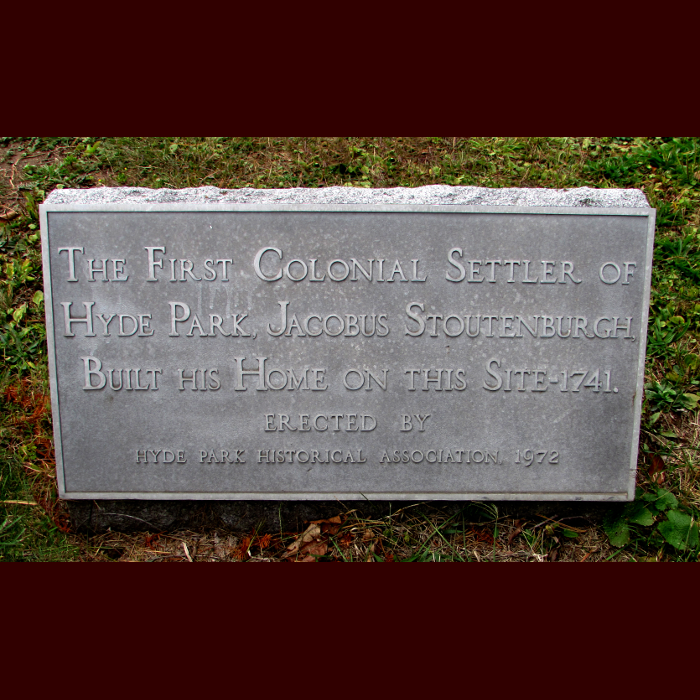 Historical Marker for Site of First Colonial House in Hyde Park Area