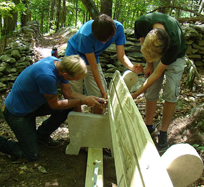Crew constructing Eagle Scout bench