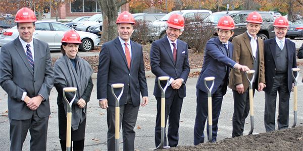 Company and local officials, pose for the Dassai Brewery groundbreaking ceremony