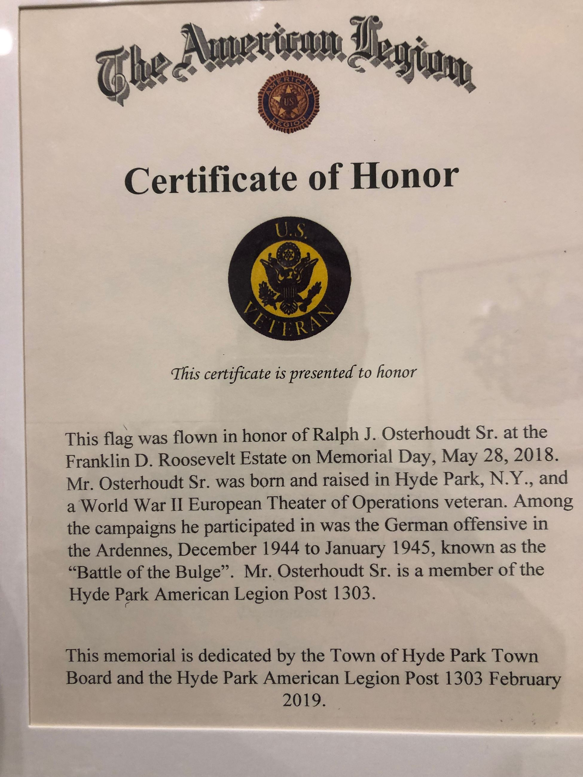 Ralph Osterhoudt Certificate of Honor